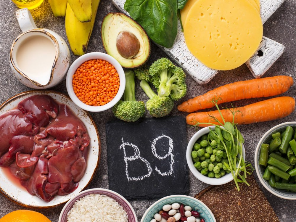 Healthy products, natural sources of vitamin B9